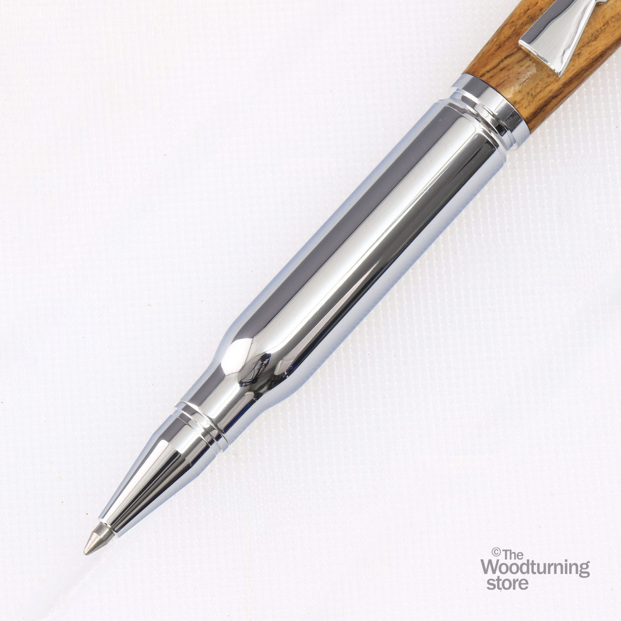 Bullet Click Pen with Rifle Clip Woodturning Kits Two Chrome