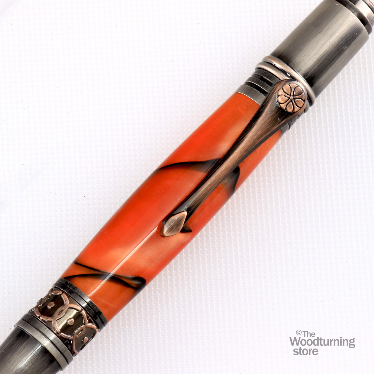 Red Acrylic Gold Victorian Twist Pen