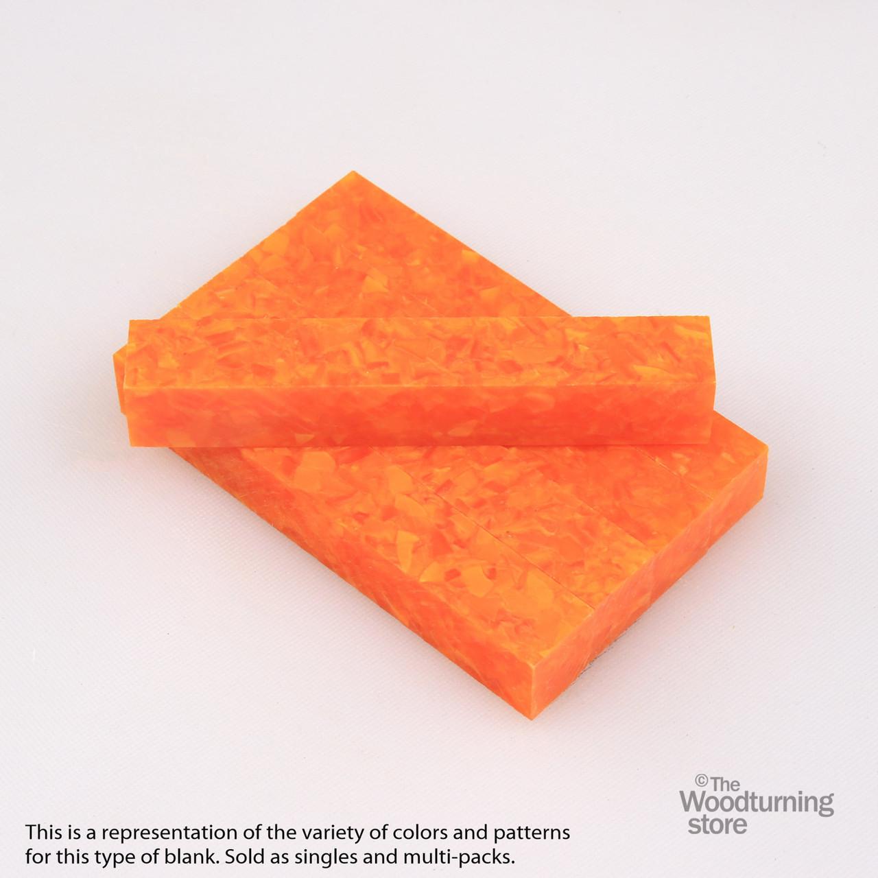 Legacy Acrylic Pen Blank - Bright Orange with White Crush, Single Blank