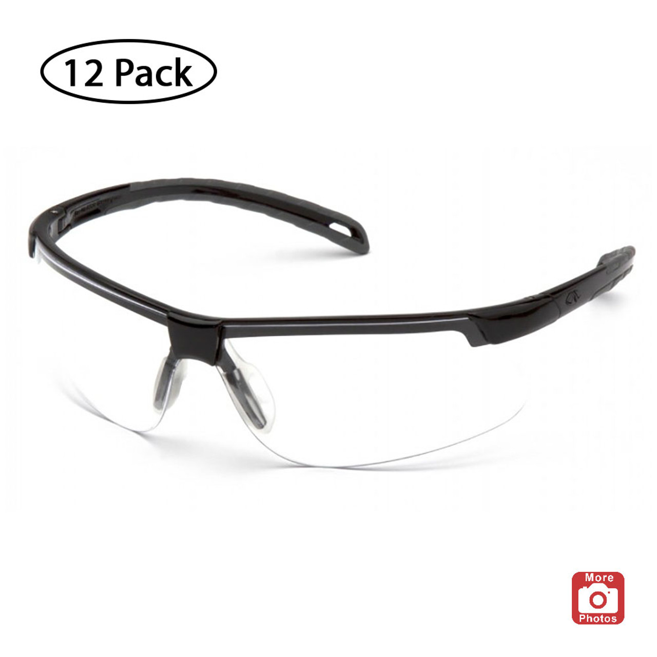 Pyramex Ever-Lite Series Safety Glasses with H2X Anti-Fog Lens, 12 Pack