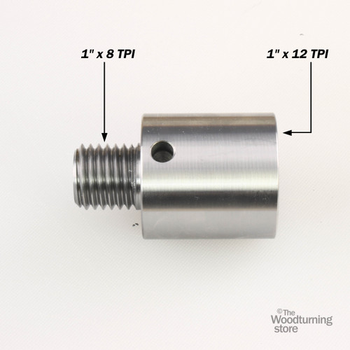 """Hurricane, Headstock Spindle Adapter, Converts 1"""" x 12 TPI to 1"""" x 8 TPI"""