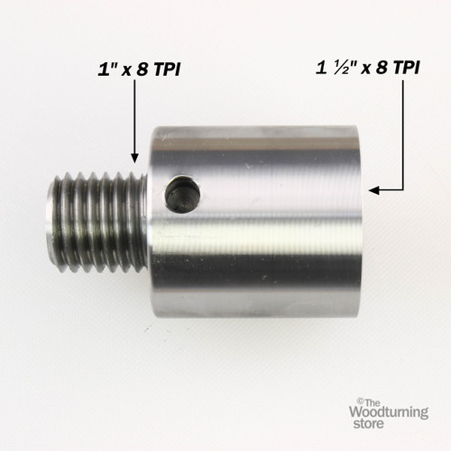 """Hurricane, Headstock Spindle Adapter, Converts 1 1/2"""" x 8 TPI to 1"""" x 8 TPI"""