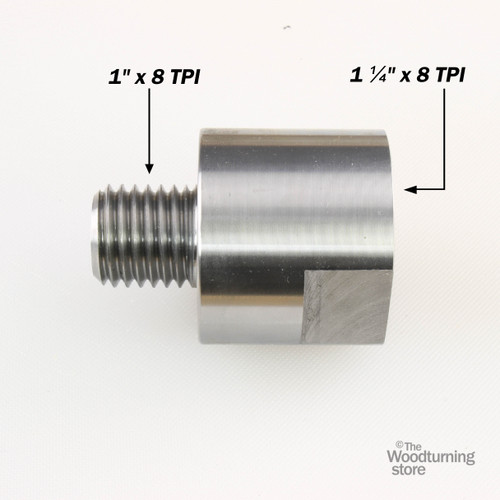 """Hurricane, Headstock Spindle Adapter, Converts 1 1/4"""" x 8 TPI to 1"""" x 8TPI"""