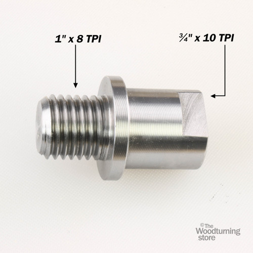 "Hurricane Headstock Spindle Adapter, Converts 3/4"" x 10 TPI to 1"" x 8 TPI"