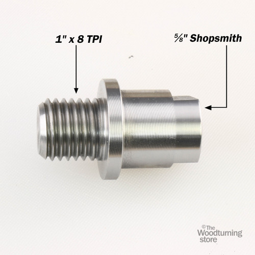 """Hurricane, Headstock Spindle Adapter, Converts 5/8"""" Shopsmith to 1"""" x 8 TPI"""