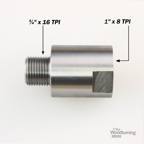 "Hurricane Headstock Spindle Adapter, Converts 1"" x 8 TPI  to 3/4"" x 16 TPI"