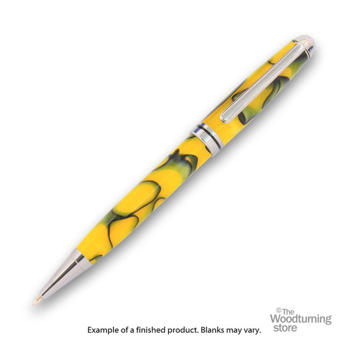 Finished Pen Blank for Legacy Euro Pen Kits, Yellow with White Lines