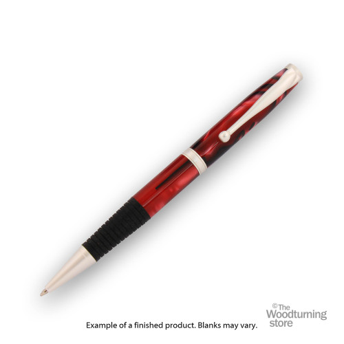 Finished Pen Blank for Legacy Comfort Pen Kits, Red with Black and White Line