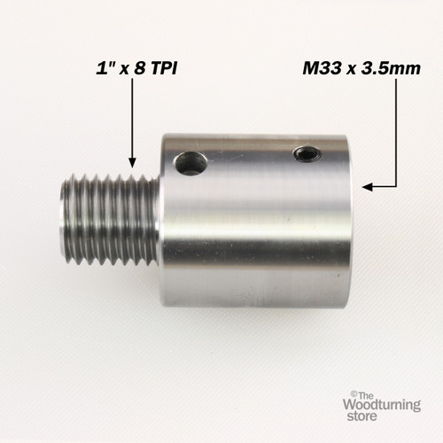 """Hurricane, Headstock Spindle Adapter, Converts M33 x 3.5 to 1"""" x 8 TPI"""