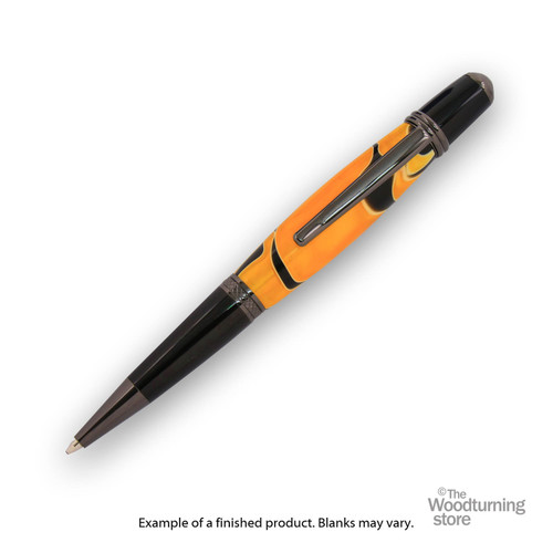 Finished Pen Blank for Legacy Viceroy Pen Kits, Orange and Black with White Lines