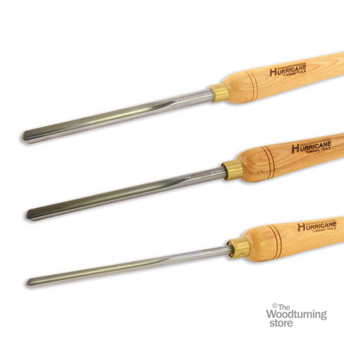 "Hurricane Three Piece Bowl Gouge Set 3/8"", 1/2"" , 5/8"", High Speed Steel w Handles"