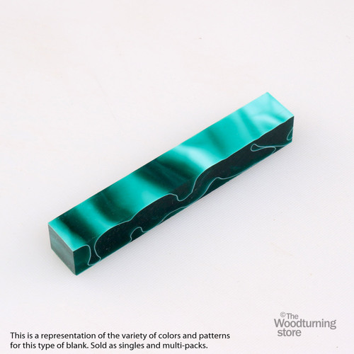 Legacy Acrylic Pen Blank - Dark Green with White Lines, Single Blank