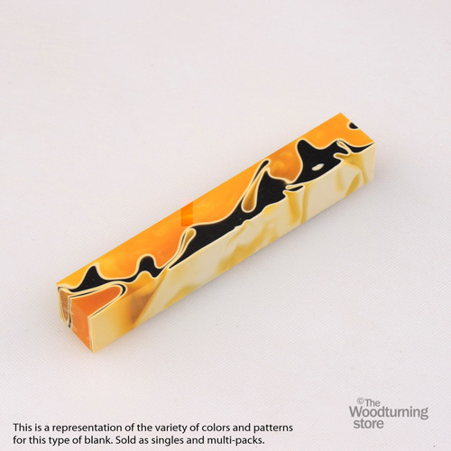 Legacy Acrylic Pen Blank - Bright Orange and Black with White Lines, Single Blank