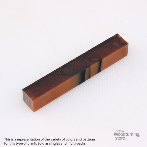 Legacy Acrylic Pen Blank - Brown with Black Lines, Single Blank
