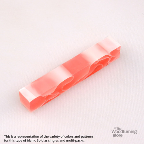 Legacy Acrylic Pen Blank - Watermelon Pink with White Lines, Single Blank