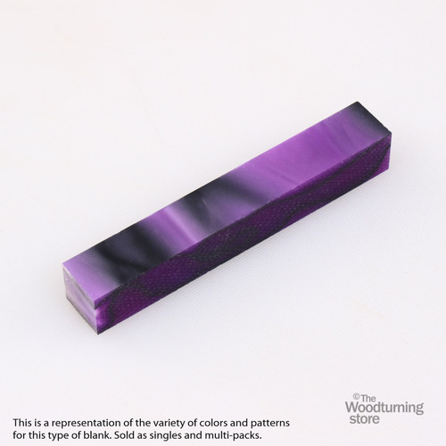 Legacy Acrylic Pen Blank - Vivid Purple with Black Lines, Single Blank