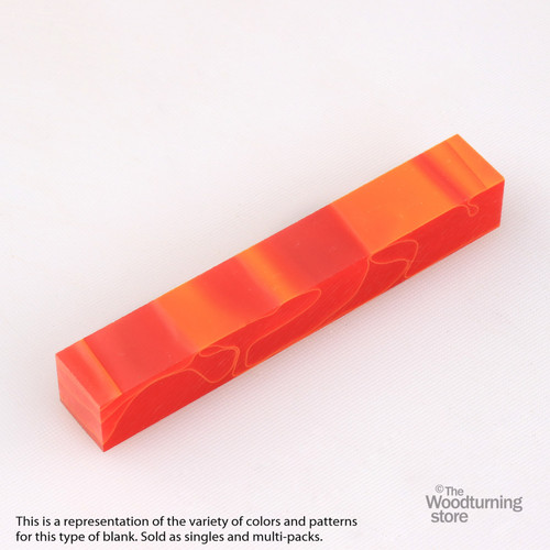Legacy Acrylic Pen Blank - Strawberry Red with Orange Lines, Single Blank