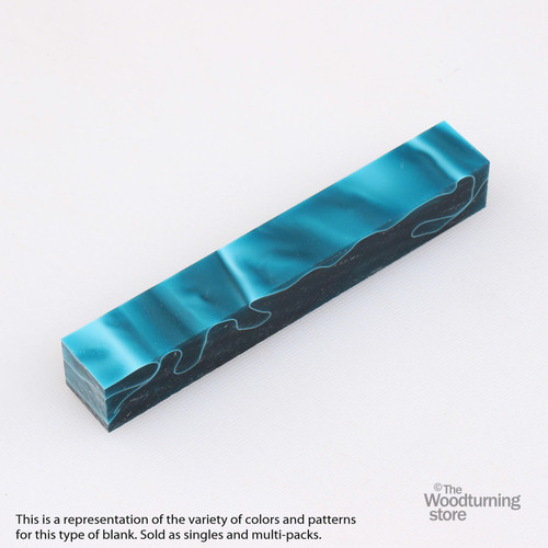 Legacy Acrylic Pen Blank - Dark Teal with White and Black Lines, Single Blank