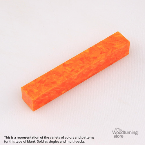 Legacy Acrylic Pen Blank - Bright Orange with White Crush, Single Blank