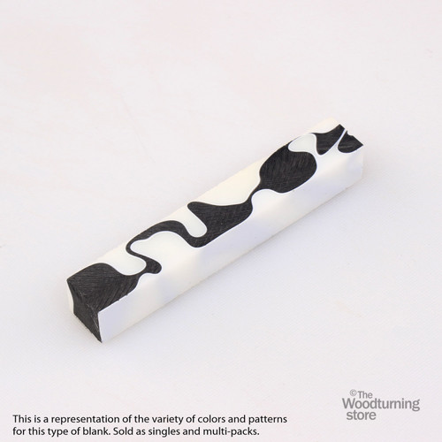 Legacy Acrylic Pen Blank - White and Black, Single Blank