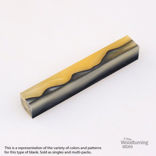 Legacy Acrylic Pen Blank - Pale Yellow Pearl with Black Lines, Single Blank