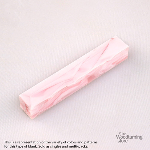 Legacy Acrylic Pen Blank - Baby Pink with White Lines, Single Blank