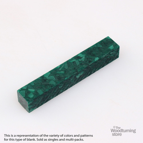 Legacy Acrylic Pen Blank - Forest Green with White Crush, Single Blank