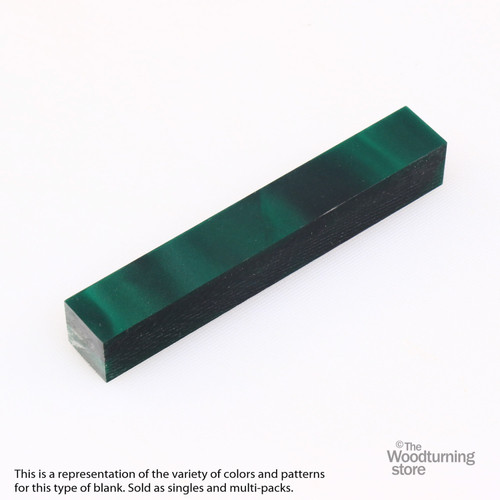 Legacy Acrylic Pen Blank - Forest Green Pearl with Black Lines, Single Blank