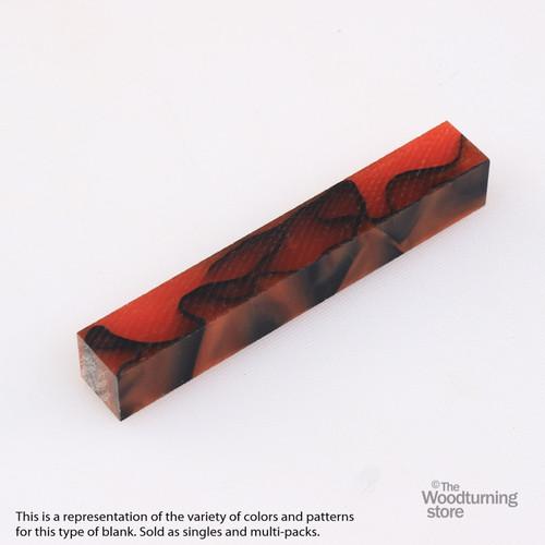 Legacy Acrylic Pen Blank - Orange Pearl with Black Lines, Single Blank