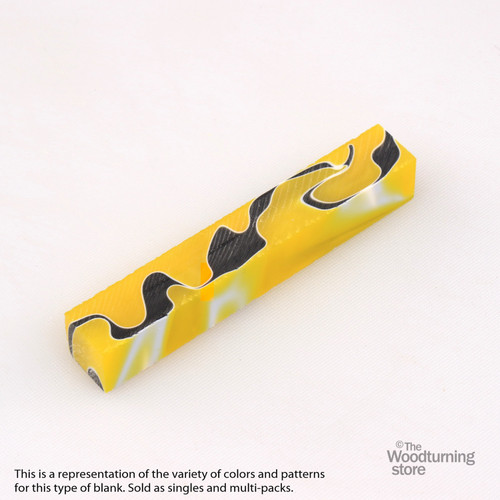 Legacy Acrylic Pen Blank - Bright Yellow and Black with White Lines, Single Blank