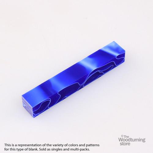 Legacy Acrylic Pen Blank - Ultramarine Blue with White Lines, Single Blank