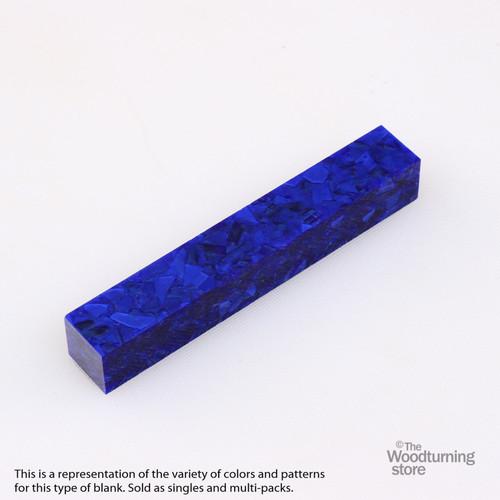 Legacy Acrylic Pen Blank - Sapphire Blue with Blue Crush, Single Blank