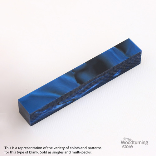 Legacy Acrylic Pen Blank - Midnight Blue Pearl with Black Lines, Single Blank