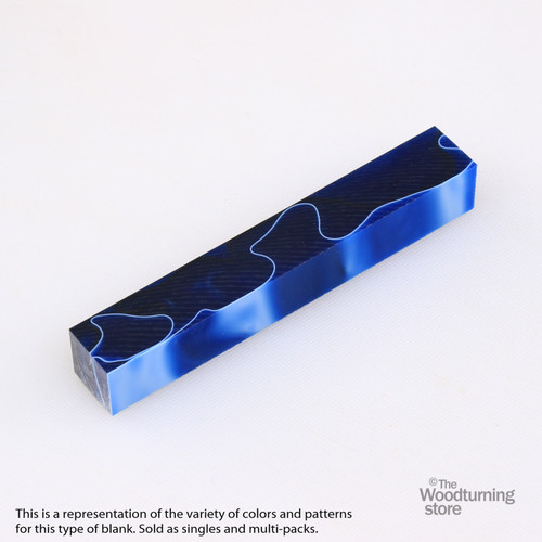 Legacy Acrylic Pen Blank - Royal Blue with White and Black line, Single Blank