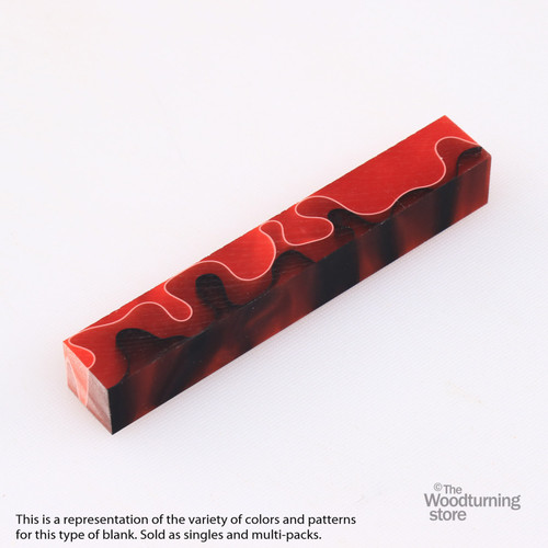 Legacy Acrylic Pen Blank - Red with White and Black Lines, Single Blank