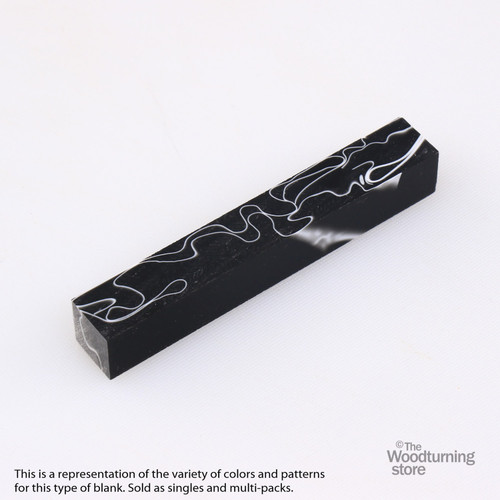 Legacy Acrylic Pen Blank - Black with White Lines, Single Blank