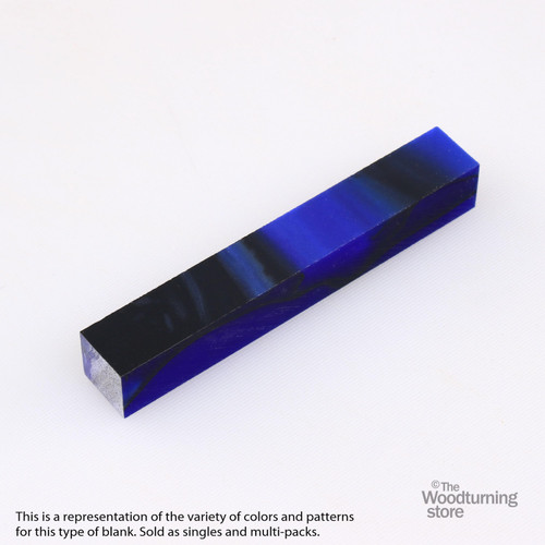 Legacy Acrylic Pen Blank - Sapphire Blue with Black Lines, Single Blank