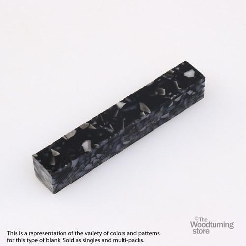 Legacy Acrylic Pen Blank - Black with White Crush, Single Blank