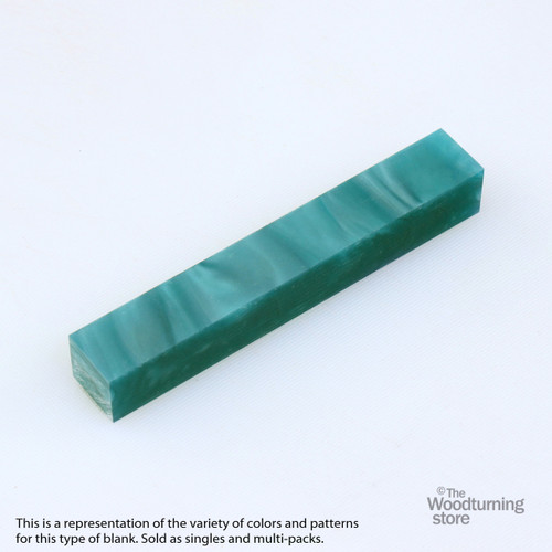 Legacy Acrylic Pen Blank - Pine Green Pearl with Transparent Lines, Single Blank