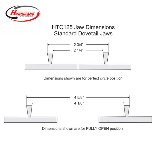 Standard Dovetail Jaws for Hurricane HTC125 Woodturning Lathe Chuck B Stock