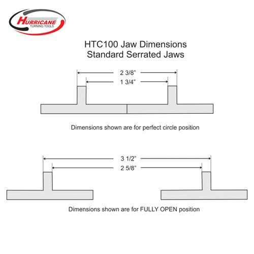 Serrated Jaws for Hurricane HTC100 Woodturning Lathe Chuck B Stock