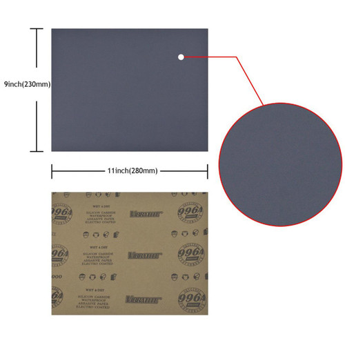 "Hurricane Micro SC, 9"" x 11"" Waterproof Sandpaper, 60-10000 Grit, Single Sheet"