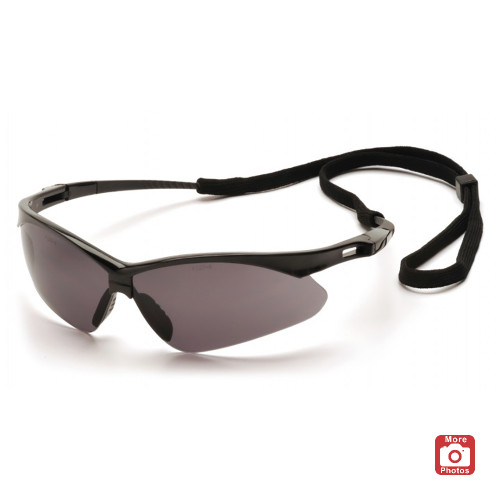 Pyramex PMXTREME Series Safety Glasses with Gray Anti-Fog Lens, Black Frame and Cord