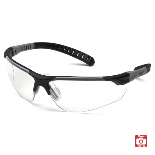 Pyramex Sitecore Series Safety Glasses with Clear H2MAX Anti-Fog Lens and Black and Gray Temples