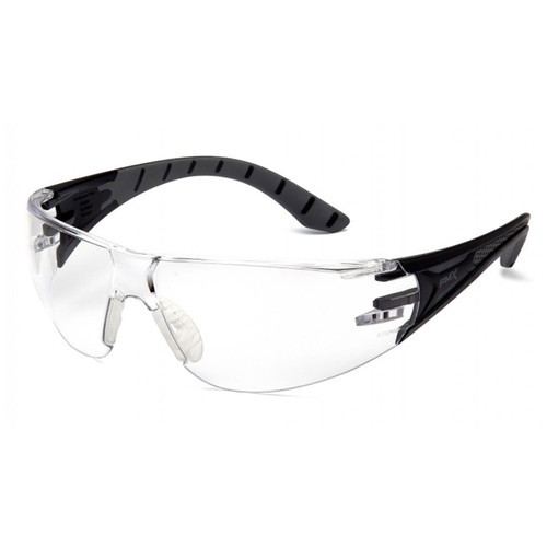 Pyramex Endeavor Plus Series Safety Glasses with Clear H2X Anti-Fog Lens and Black and Gray Temples