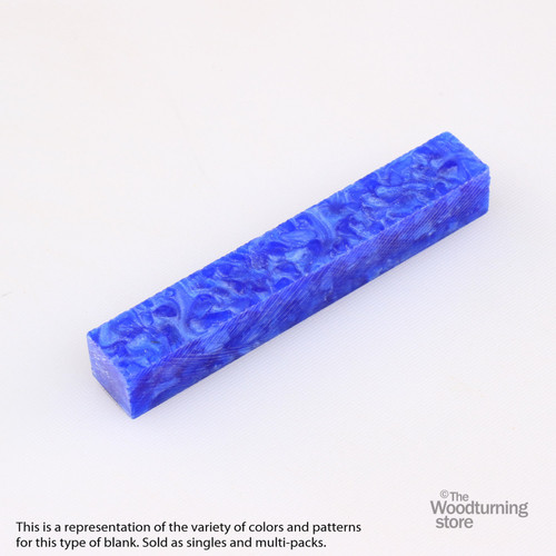 Legacy Acrylic Pen Blank - Blue Pearl with White Crush, Single Blank