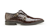 Belvedere Alligator Shoes Mens Brown Double Monk Strap Oscar