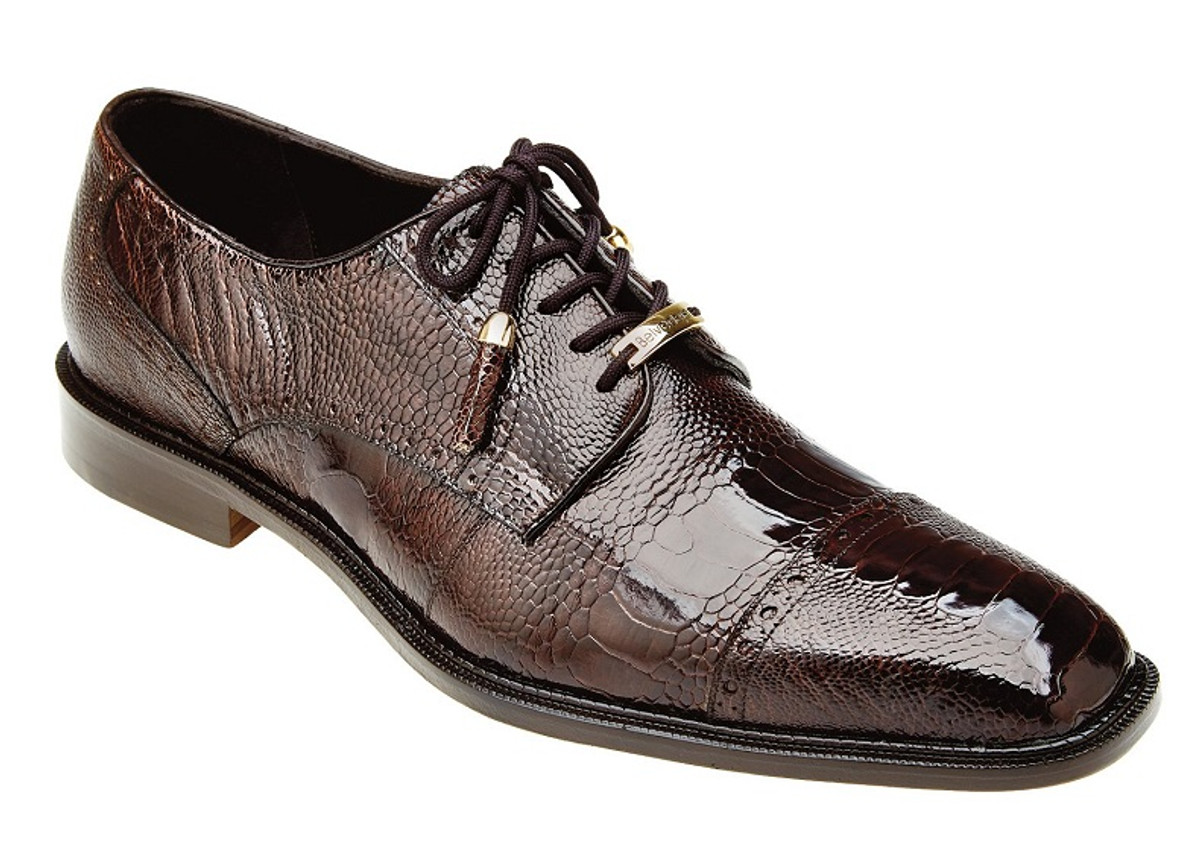 Belvedere Brown Ostrich Skin Cap Toe Shoes Batta 14006