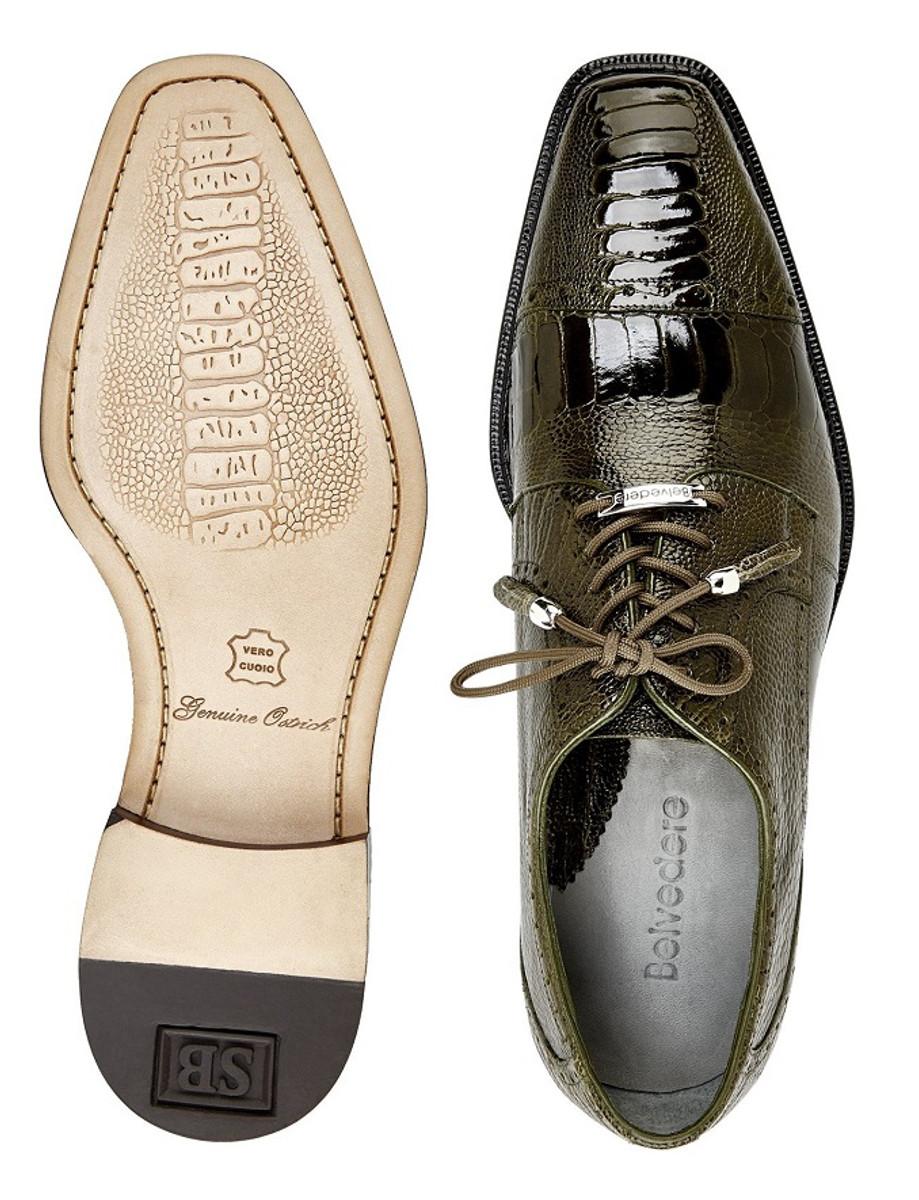 Belvedere Mens Olive Green Ostrich Skin Cap Toe Shoes Batta 14006
