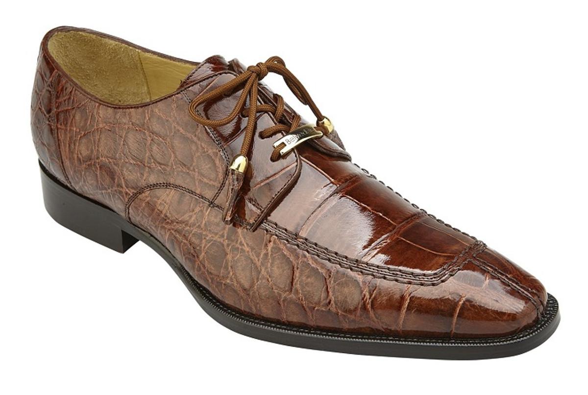 Belvedere Alligator Shoes Mens Peanut Brown Split Toe Lorenzo B01